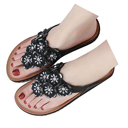 b1845fcd5d3ed Amazon.com: Veodhekai Womens Flat Heel Flip Flops Sandals Plus Size ...
