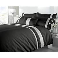 4 Piece Silver Linning Duvet Cover Set with Zipper & Corner Ties 100% Egyptian Cotton 600 Thread Count (1 Duvet Cover 3 Pillow Shams)