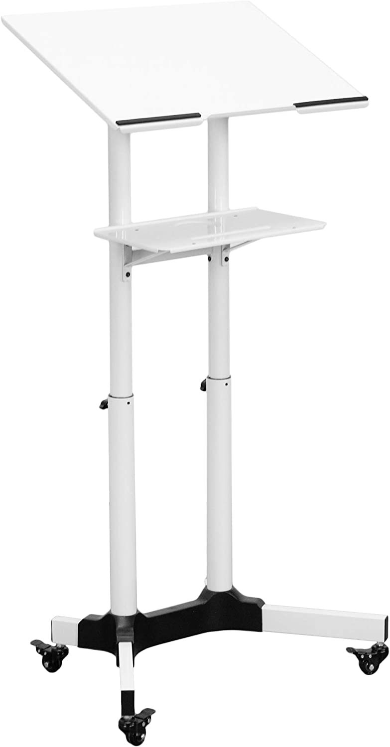 VIVO Steel Mobile 24 inch Height Adjustable Multi-Purpose Rolling Podium, Lectern, and Laptop Workstation Desk with Storage Tray, White (CART-V03W)