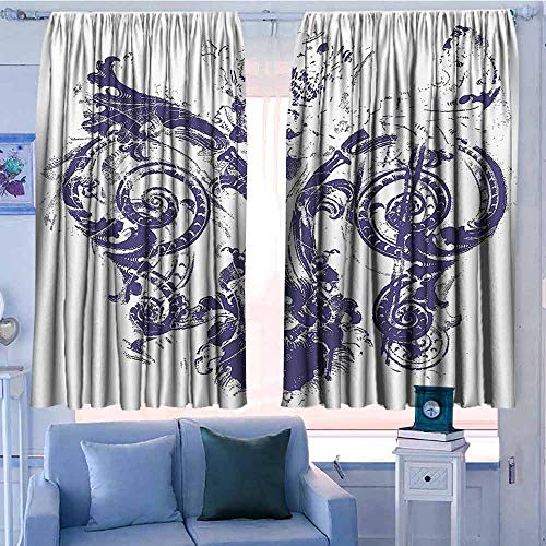 AndyTours Rod Pocket Blackout Drapes,Fleur De Lis Decor,Energy Efficient, Room Darkening,W55x45L Inches Purple White