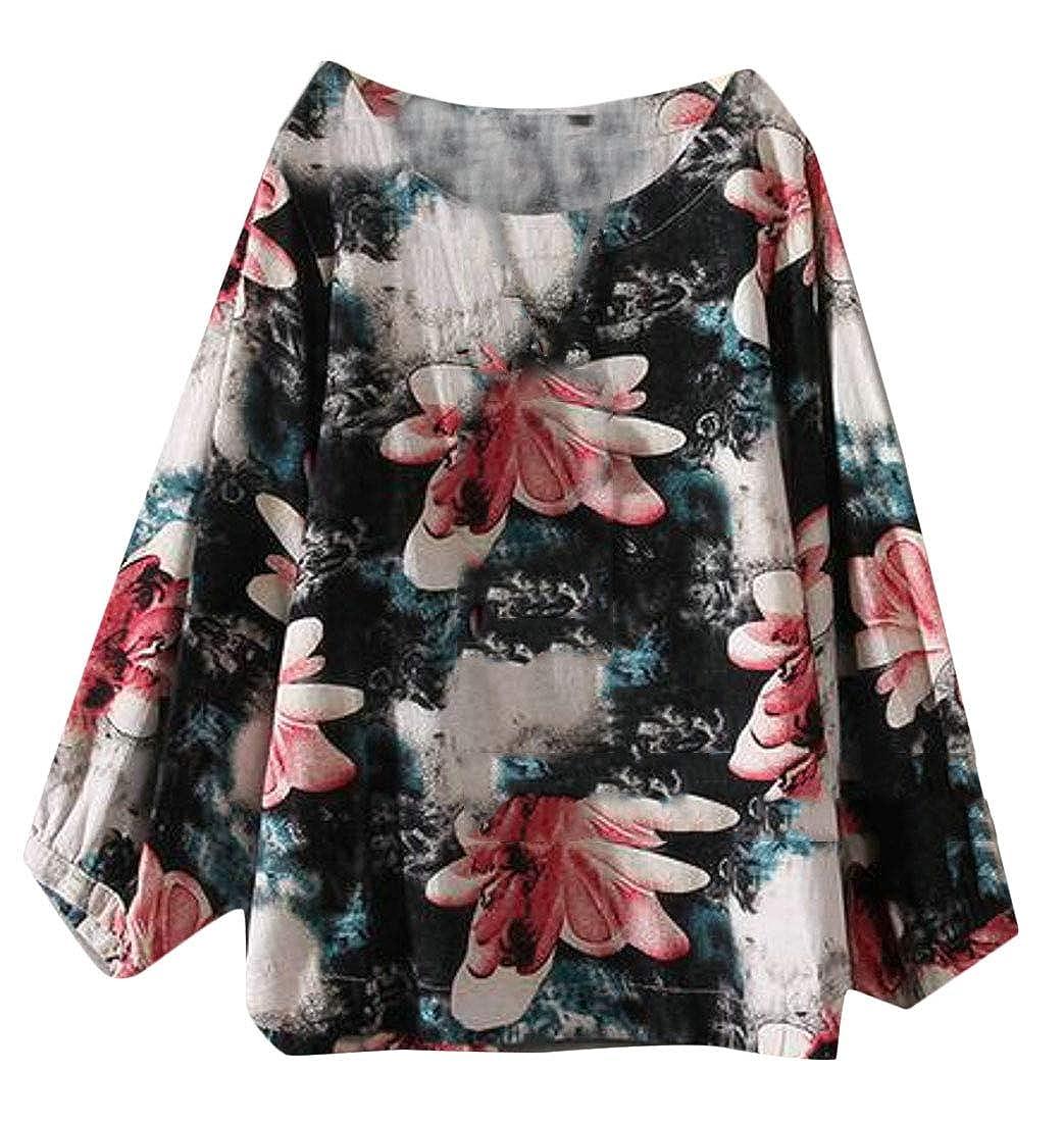 5444a285e7d72 Fensajomon Women Cotton Linen Boho Floral Print Plus Size Long Sleeve Top Blouse  T-Shirt at Amazon Women s Clothing store