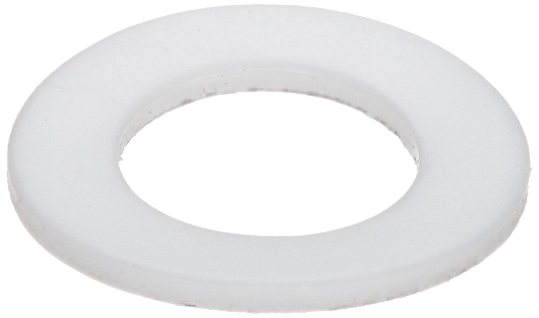 PTFE (Polytetrafluoroethylene) Flat Washer, 1/4'' Hole Size, 0.253'' ID, 0.500'' OD, 0.031'' Nominal Thickness, Made in US (Pack of 50)