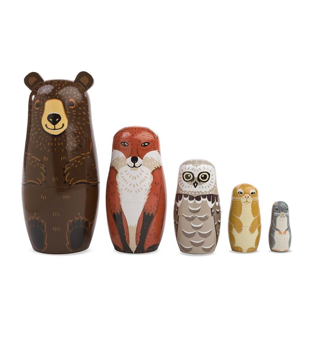 Magic Cabin Woodland Forest Animal Nesting Dolls - Set of 5 - Wood - Largest 5.5''H by Magic Cabin