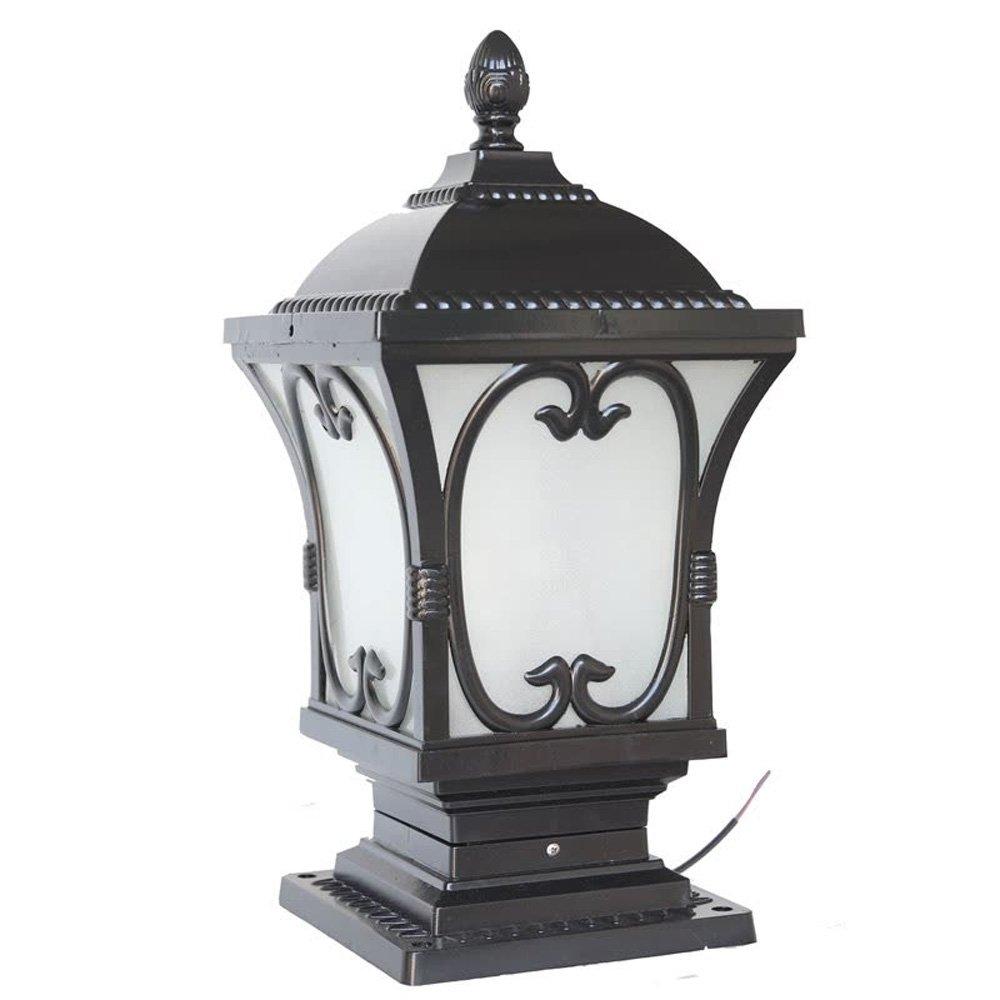 Neixy-カルテットゲートランプウォールランプポストヘッドライトヨーロッパスタイルの屋外アルミ防水防錆のピラシティ田舎のクラシックE27コラムヘッドライトガーデンバルコニーヴィラプールエッジの風景ライト (Color : Black, サイズ : 18.5cm) B07DDGGHPH 13069 18.5cm|Black Black 18.5cm