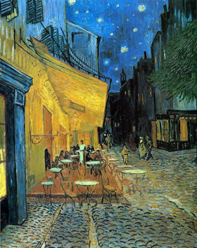 Wieco Art Cafe Terrace at Night Modern Stretched and Framed Giclee Canvas Prints Van Gogh Oil Paintings Reproduction Cityscape Picture on Canvas Wall Art Ready to Hang for Bedroom Kitchen ()