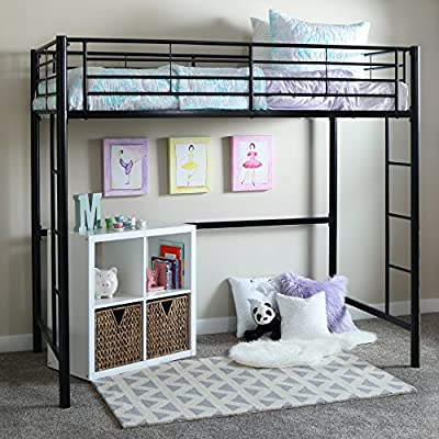 New Twin over Loft Metal Bunk Bed with Ladder, Black Powder Coated Finish