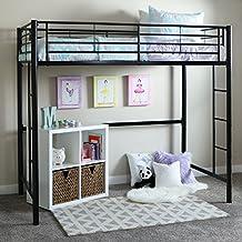 Walker Edison Twin Metal Loft Bed, Black