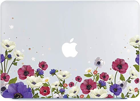 """MacBook Air 13.3/"""" Clear Case Hard Shell Cover Model A1466//A1369 Poppy Flower"""