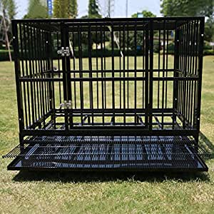 Walcut Heavy Duty Fodable Strong Metal Pet Dog Cage Crate Cannel Playpen w/Wheels