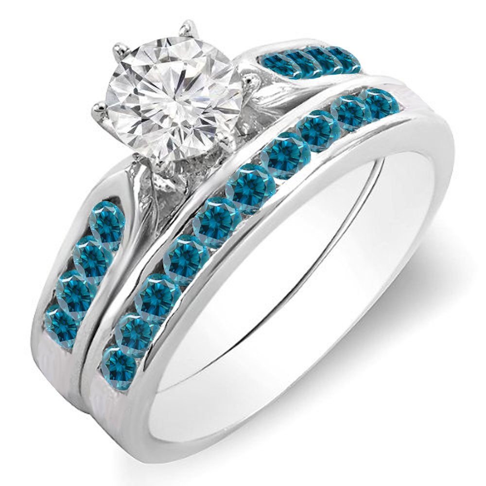 1.00 Carat (ctw) 14k White Gold Round Blue & White Diamond Bridal Engagement Ring Set 1 CT (Size 6)