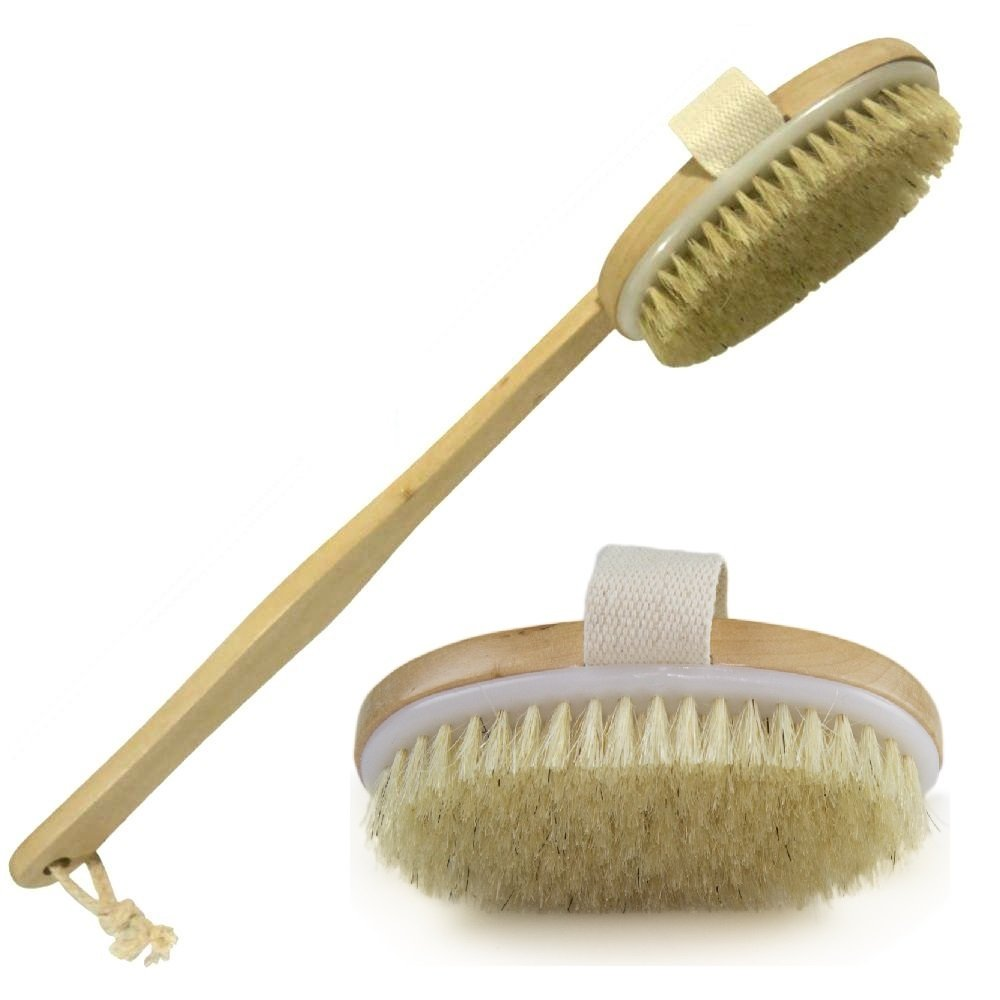 Image result for Wholesome Beauty Dry Skin Body Brush with Removable 11-Inch Wood Handle