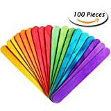 "Paxcoo 100 Pcs 6"" Colored Jumbo Wood Craft Sticks"