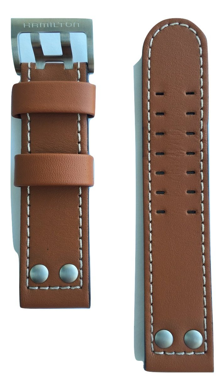 Hamilton Khaki X-Wind Brown Genuine Leather Strap Band for Watch H77616533