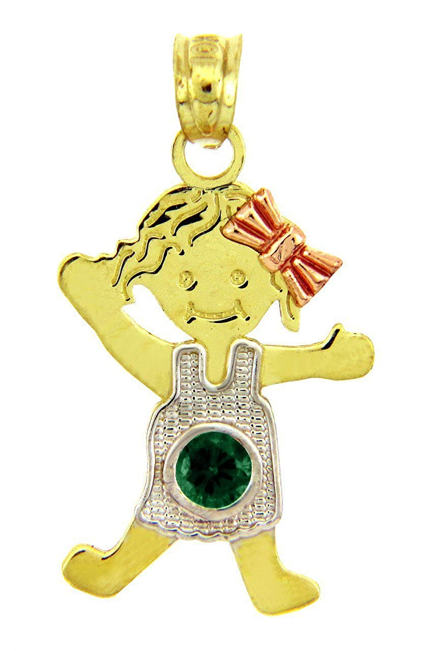 14k Tri Color Gold Girl With Bow May Birthstone Charm Pendant