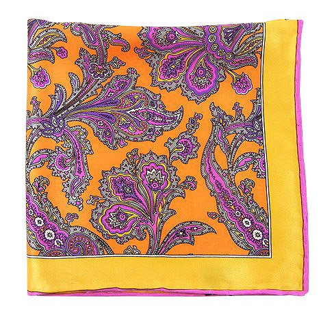 The Tie Bar 100% Silk Tangerine and Gold Gentlemen's Paisley Pocket Square