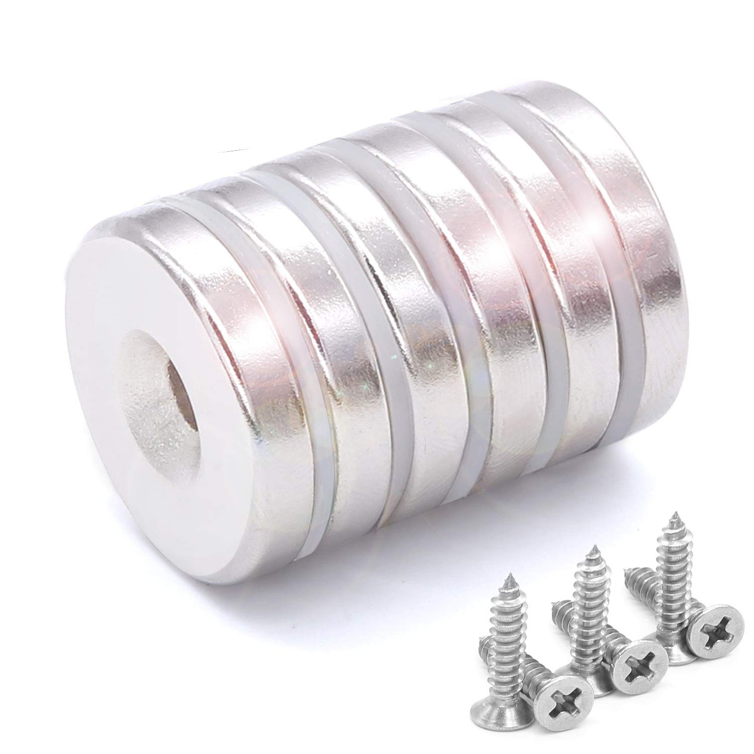 6 Pack 25 x 5 mm Neodymium Disc Countersunk Hole Magnets, Strong Permanent Rare Earth Magnet With 6 Screws for Crafts