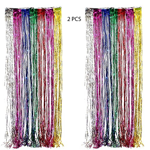 Adorox (2 pc Metallic Rainbow) Metallic Silver Gold Rainbow Photo Backdrop Foil Fringe Curtains Party Wedding Event -