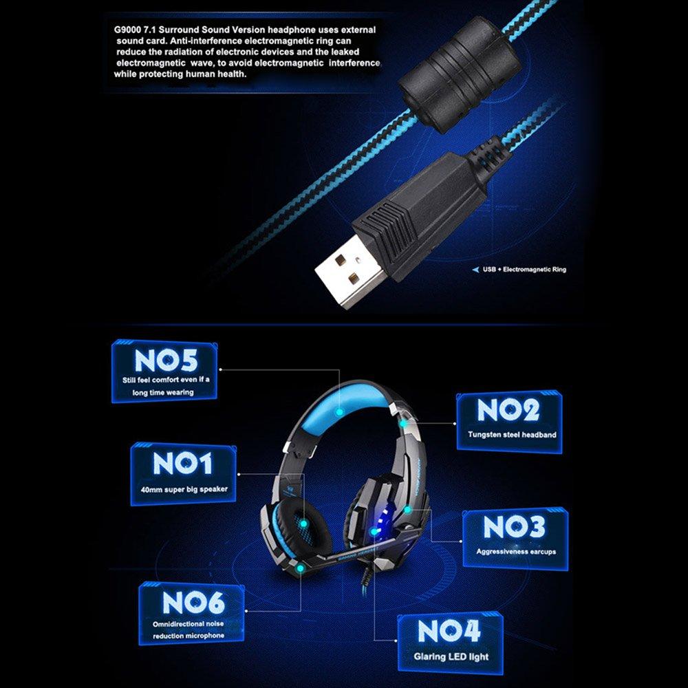 KOTION EACH G9000 Auriculares de Juegos USB 7.1 Sonido Envolvente Cancelación de Ruido con Mic Luces LED Negro-Rojo para Ordenador Desktop Laptop Notebbok: ...