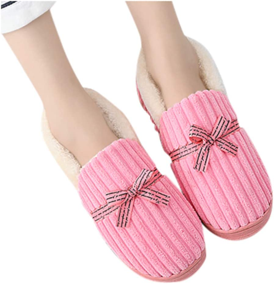 Midress Women Mens Warm Comfort Home Slipper Bow Knot Floor Bedroom Indoor Couples Loafer Shoes Slippers
