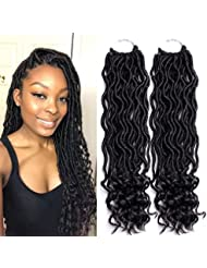 Yolami 6 Packs/lot Goddess Faux Locs Crochet Hair With Curly Ends Wavy Faux Locs Crochet Braids Soft Synthetic Hair Extensions Dreadlocks Crochet Locs Braiding Hair 24 Roots/pack (14inch, 1B)