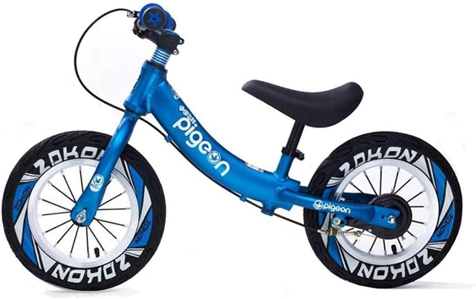 Felices juntos Bicicleta de 12 pulgadas, bicicleta azul de equilibrio for niños pequeños y niños Bicicletas de entrenamiento sin pedales de 2 a 6 años de edad Aprendizaje de bicicletas for niños