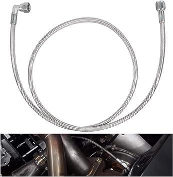 4AN 551871 90 Degree Straight Hose End Pressure Remote Turbocharger Sensor Teflon Stainless Steel Braided Turbo Oil Feed Line 48 Length