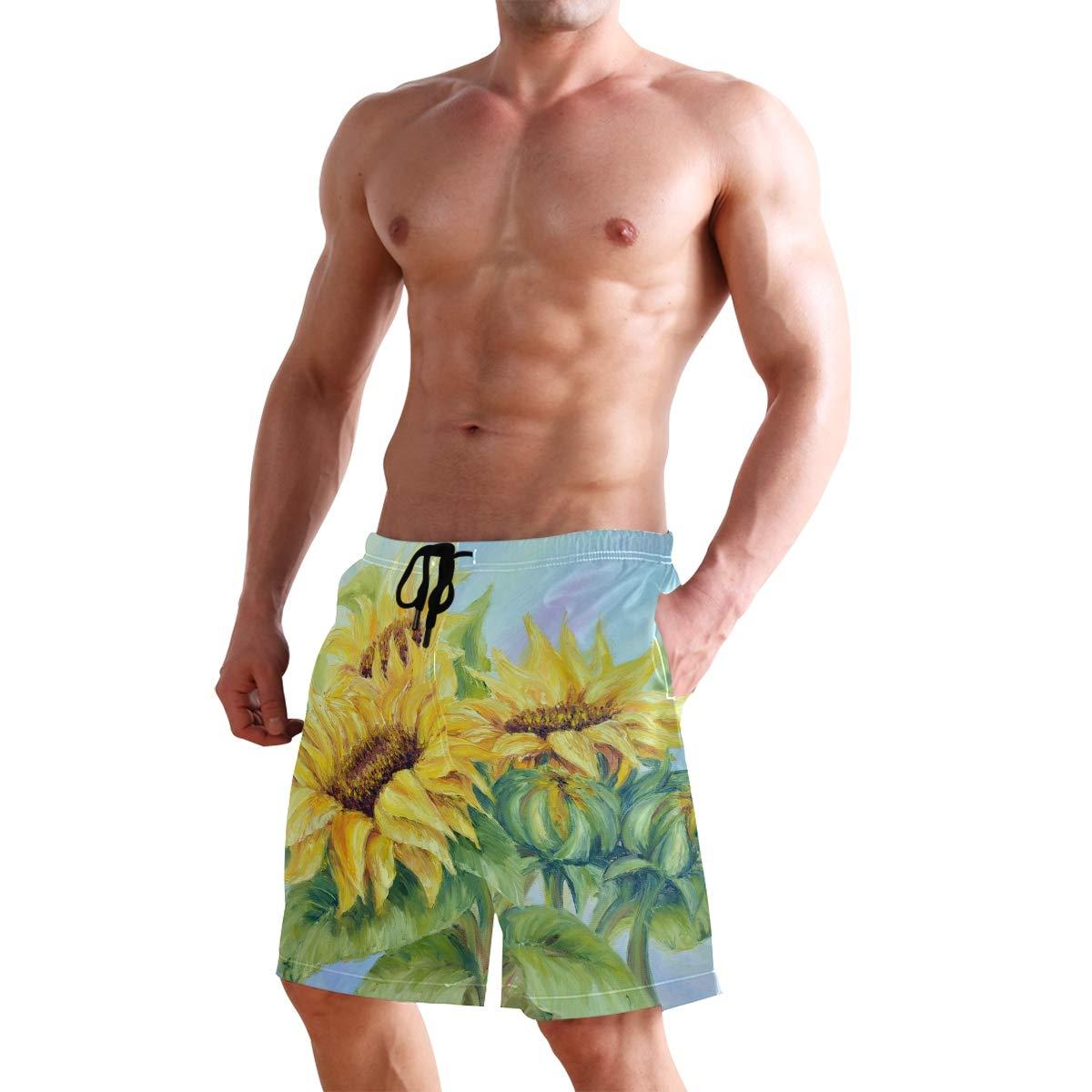 Men/'s Swim Trunks Beach Board Swimwear Shorts Painting Sunflower Swimming Short Pants Quick Dry Water Shorts Mesh Lining