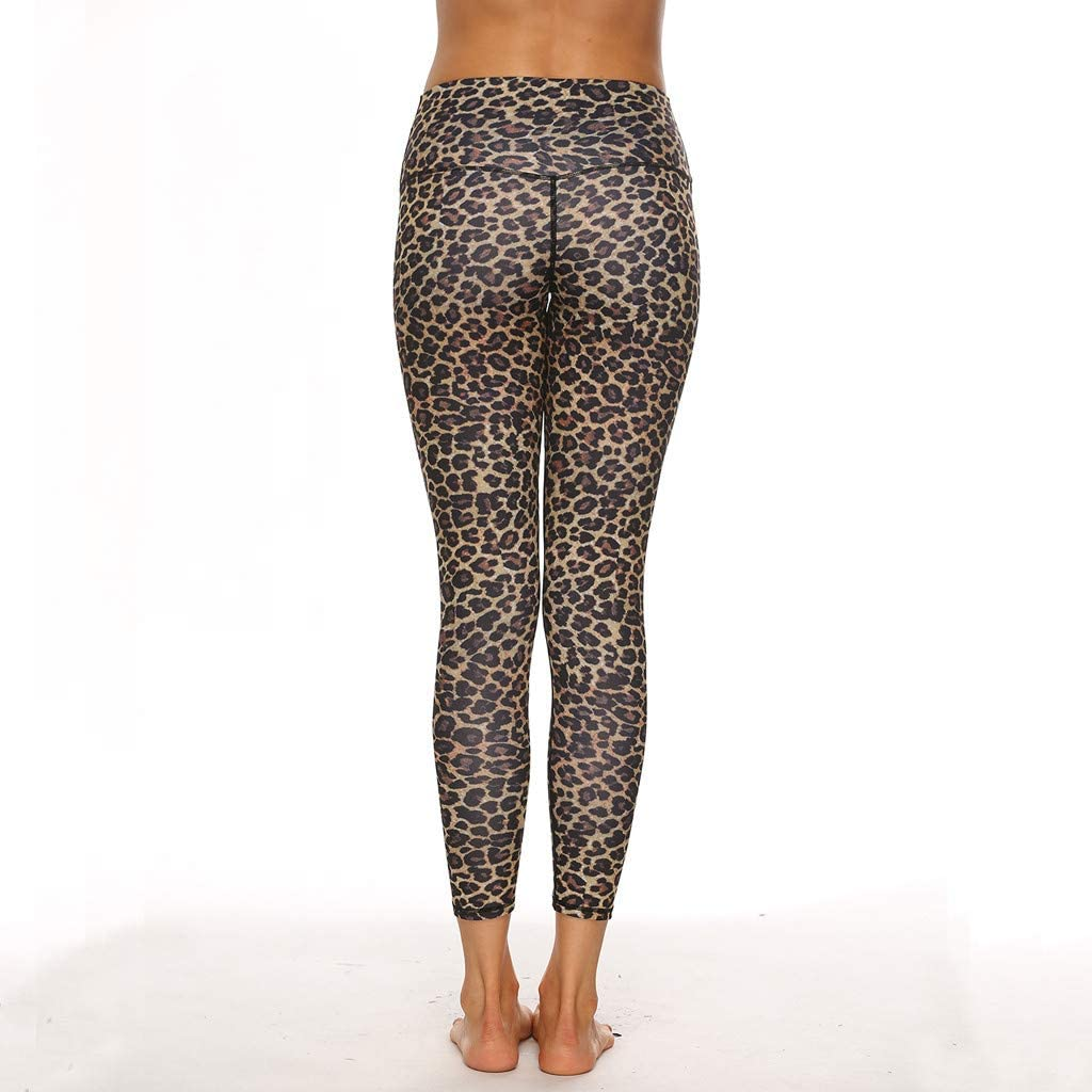 Women Yoga Pants Casual Skinny Leopard Cheetah Animal Print Leggings Butt Lifting Gym Sports Trousers High Waist Running Workout Tights Sweatpant Shapewear Bodysuit for Control Shape Body