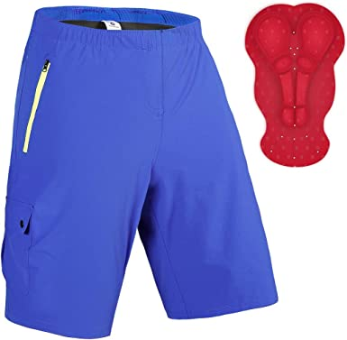 Lavenicole Mens Mountain Bike Shorts Padded Lightweight MTB Biking Cycling Shorts with Pockets Loose-Fit