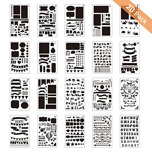 al Stencil Plastic Planner + 11 Sheets Calendar/Reminder Stickers, for Scrapbooking, Notebook, Diary, Card, Art, Monthly Index Tabs for Birthdays, Planning, Doctor Appointments ()