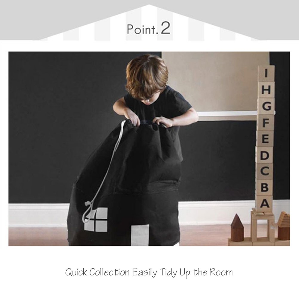 AuReve Cotton Canvas House Storage Bags Quick Pouch Organizer Drawstring Bag Tidy the Room Children's Toys Home Stuff One-shoulder Travelling Bags Black by AuReve (Image #2)