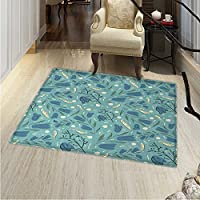 Seafoam Area Rug Hand Drawn Aquarelle Floral Motifs Leaves Stalks Bell Flowers Indoor/Outdoor Area Rug 2x3 Seafoam Night Blue Ivory