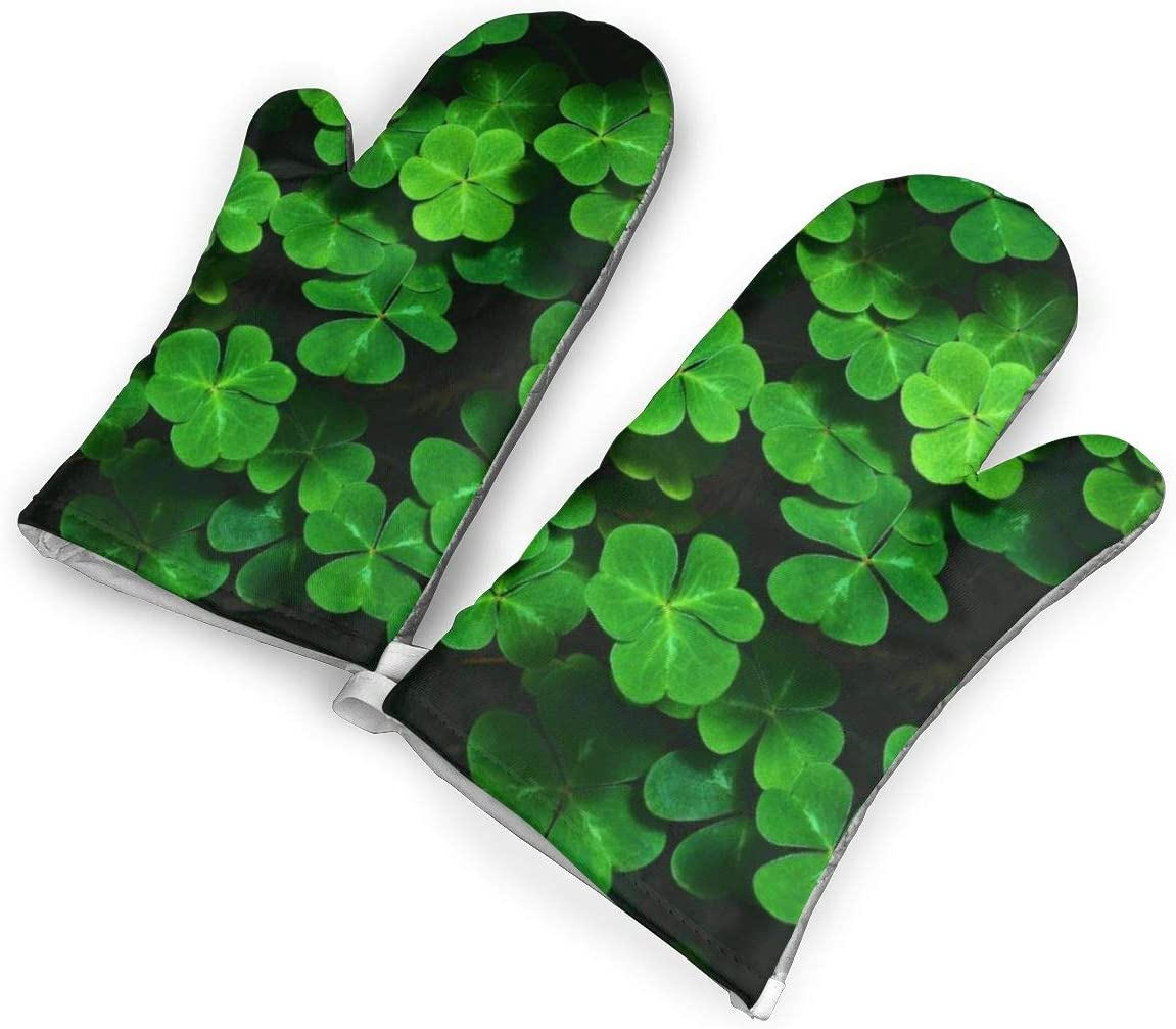 Victoria-Ai Irish Clover Oven Mitts Premium Heat Resistant Kitchen Gloves Non-Slip Easy to Use Baking Mittens for BBQ/Cooking/Grilling