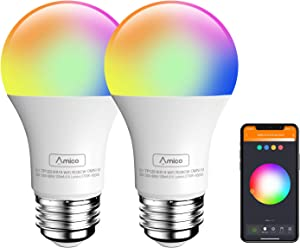Amico LED Smart Light Bulb, Music Sync RGBCW Color Changing Smart Bulb A19 E26 9W=60W Equivalent, No Hub Required, Compatible with Alexa, Siri, Google Home WiFi Light Bulb - 2 Pack