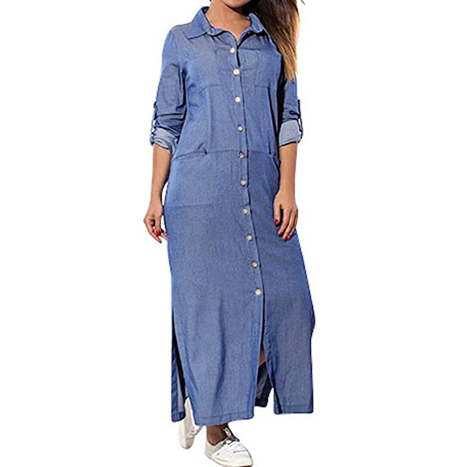 0c231766830 Minisoya Women Plus Size Long Sleeve Denim T-Shirt Dress Kaftan Tunic  Pockets Split Casual