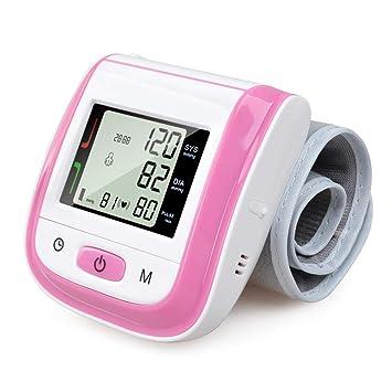 Presión Arterial Monitores Automático Muñeca Presión Arterial Portátil Digital Muñeca Presión Arterial Medidor Tonómetro Tensiómetro,Pink: Amazon.es: Hogar