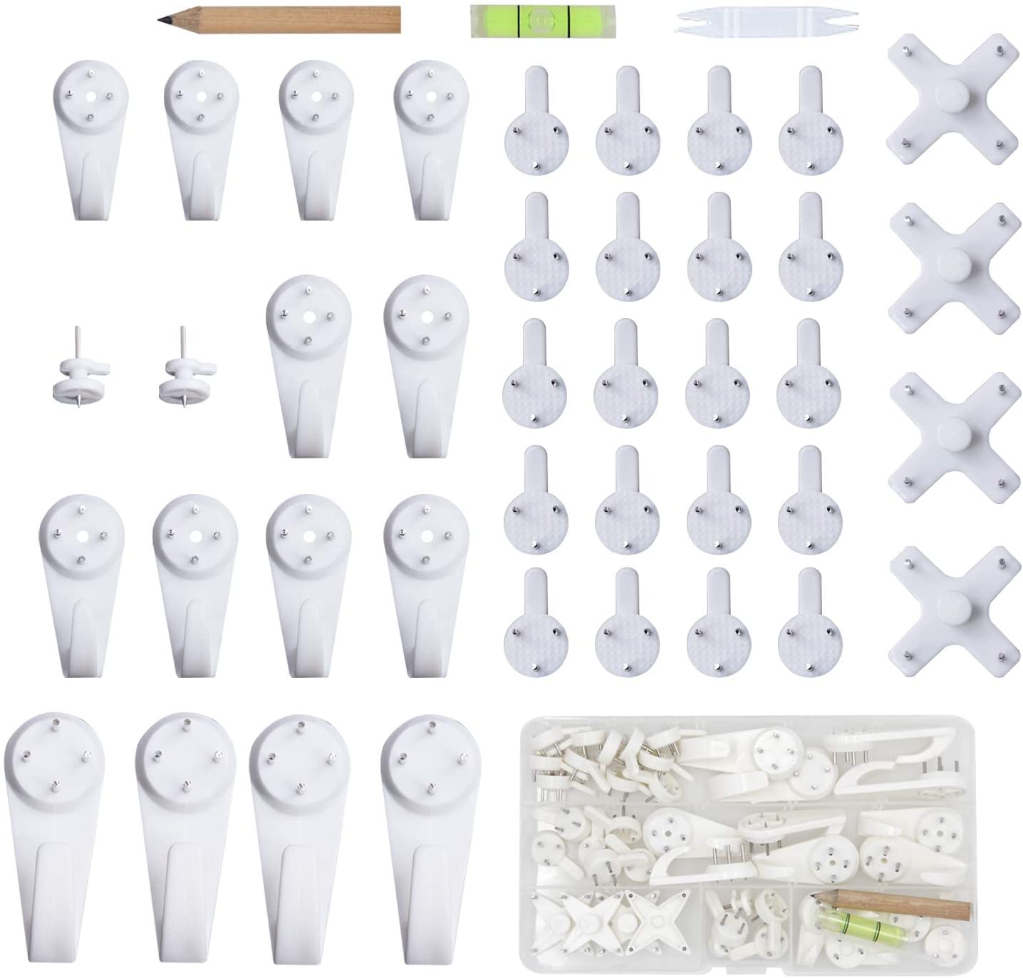 10x White Plastic Invisible Wall Mount Photo Picture Frame Nail Hook Hanger HICA