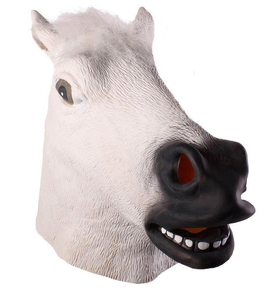 niceEshop(TM) Juguete Máscara de Caucho Látex de la Cabeza de Caballo de Decoración para El Partido de Halloween,Negro: Amazon.es: Juguetes y juegos