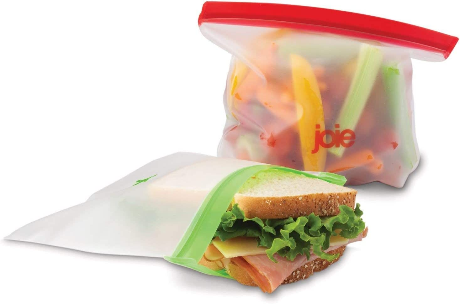"""Joie Reusable Food Storage Bags - Reusable Bags for Snacks, Sandwiches, Vegetables and More - Ziptop Containers for Sustainable Living, BPA Free, 8.75"""" x 7"""", 6 Bags"""