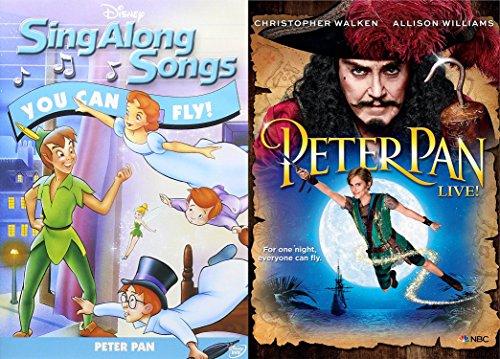 Sing With Peter Pan DVD Bundle - Disney Sing Along Songs: You Can Fly Peter Pan & Peter Pan LIVE (Gift set) 2 Movie DVD Bundle (Sing Along Songs You Can Fly)