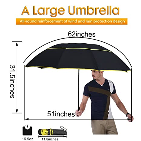 "62"" Unisex Large Double Golf Rain Umbrella, Portable and Lightweight with Small Folding Length"