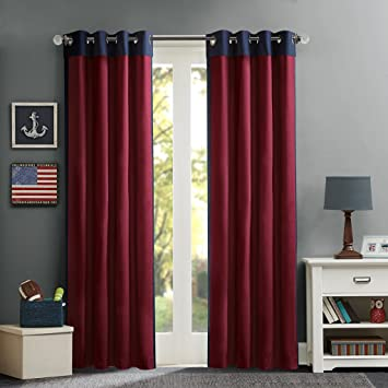 Mi-Zone Red Curtains for Living Room, Casual Grommet Room Darkening  Curtains for Bedroom, Liam Solid Window Curtains, 50X63, 1-Panel Pack