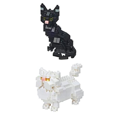 Nanoblocks - 2 Cat Sets – Black Cat and Persian Cats (Japan Import): Toys & Games