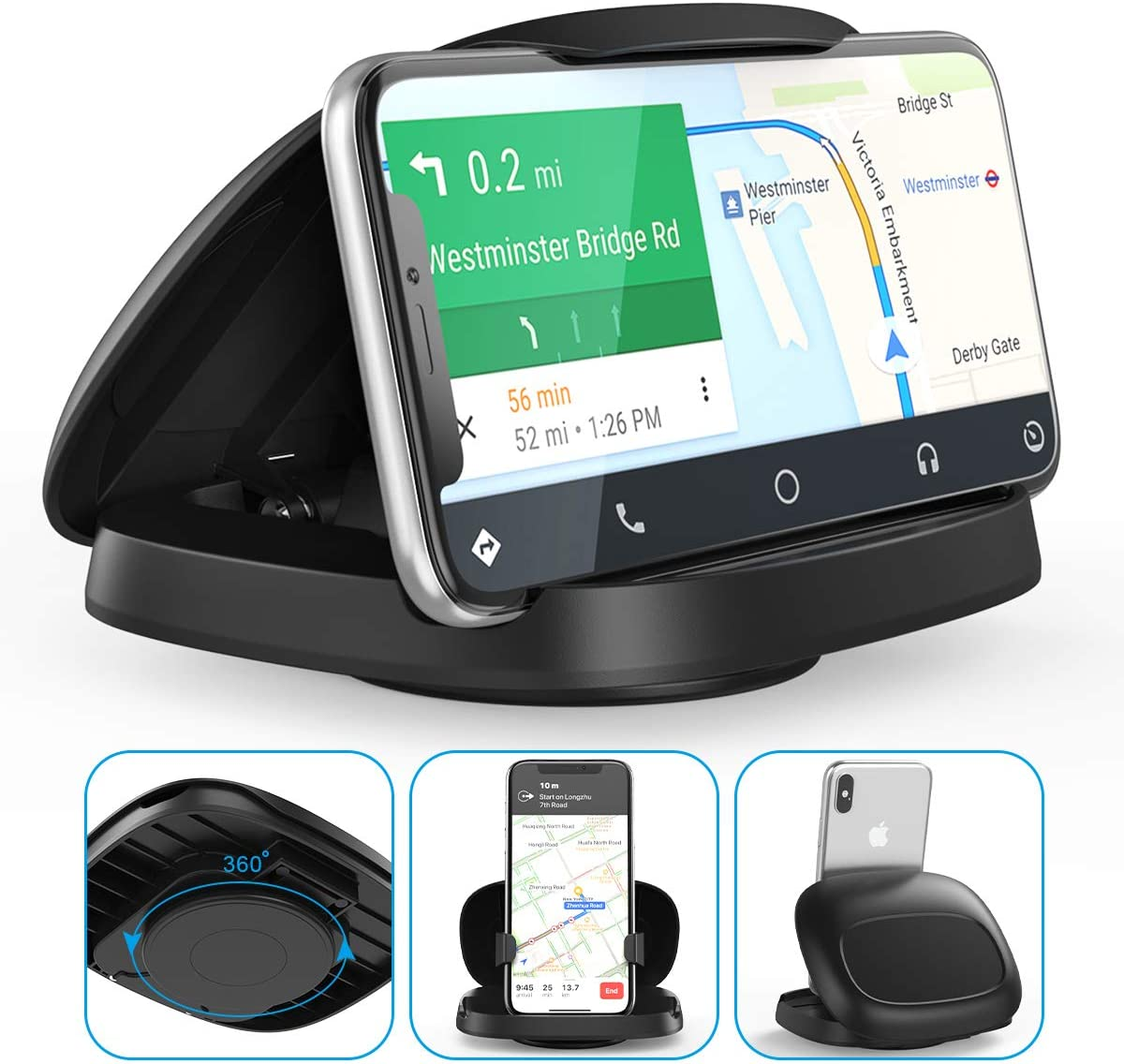 Cell Phone Holder for Car,JOYEKY Vertical Horizontal Car Phone Mount with 360° Rotate Detachable Magnetic Base Dashboard Cradle Compatible iPhone Samsung Galaxy Android Smartphones, GPS Devices