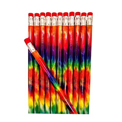 Tie Dye Wooden Lead Pencils with Colorful Rainbow Designs - Party Favor or Back to School Supply - 24 Piece Set: Toys & Games