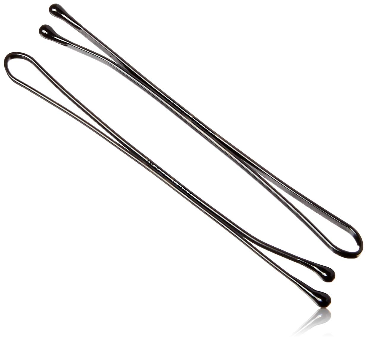 "Kleravitex 2.75"" Jumbo Bobby Hair Pins Black Tipped Flat Style. Perfect For Rollers - 100 pieces Tub Made in USA"
