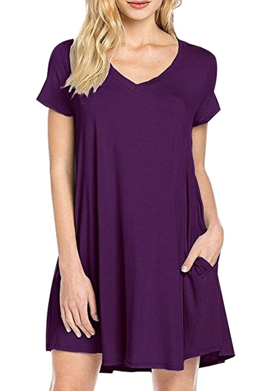 OMZIN Women Short Sleeve Loose Casual T-Shirt Tops Dress Plus Size XS-4XL US 4-18 KUANSONGDUANXIU2