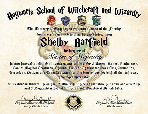 Personalized harry potter diploma hogwarts school of for Hogwarts certificate template