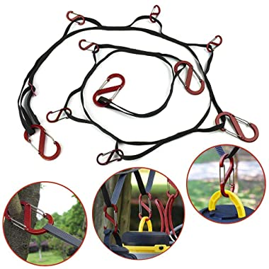 Coohole Outdoor Camping Lanyard with Hook,Camping Rope,Outdoor Camping Clothesline with Hook,Camping Tent Accessories|Carabiner for Camping, Hiking, Picnic, Travel, Fishing (Black)