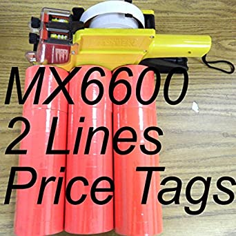 42 Rolls White 500 Tags MX-6600 10 Digits 2 Lines Price Tag Gun labeler 1 Ink